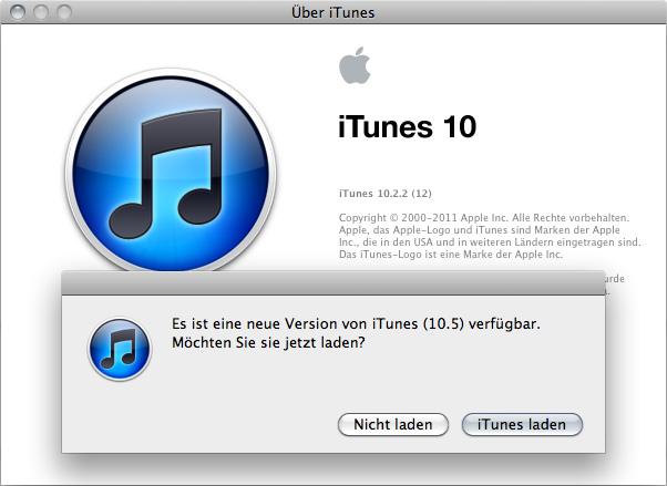 Update von iTunes 10.2.2 auf iTunes 10.5