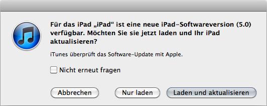 Hinweis auf neue Software für das iPad