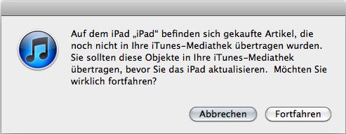 iTunes mach vor dem Update eine Datensicherung