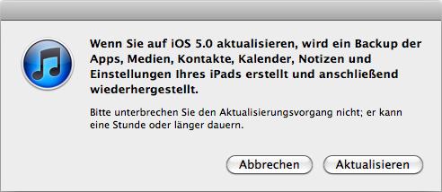 iTunes macht vor dem Update eine Datensicherung