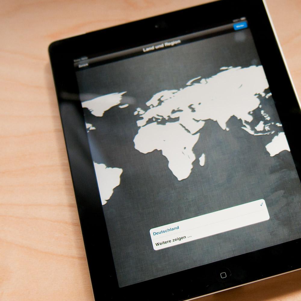 Länderkonfiguration nach der Installation von iOS 5 auf dem iPad