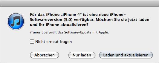 Hinweis auf die neue iOS 5 Version für das iPhone