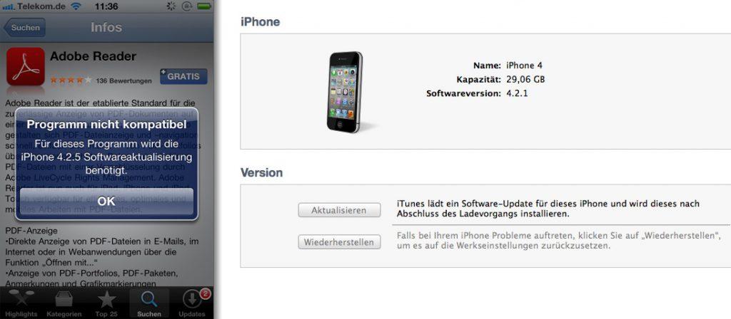 Jetzt wird es Zeit für das Update: Adobe Reader verlangt nur nach 4.2.5