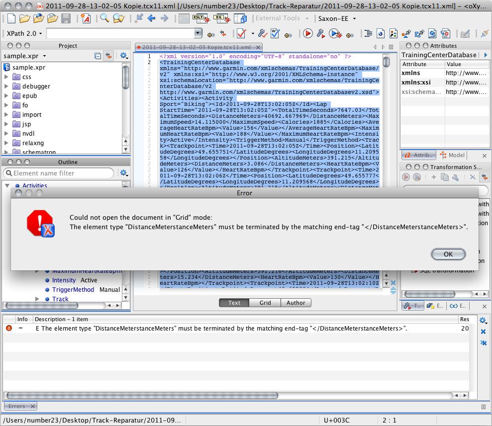 Mit dem Oxygen XML-Editor waren die Syntaxfehler schnell gefunden