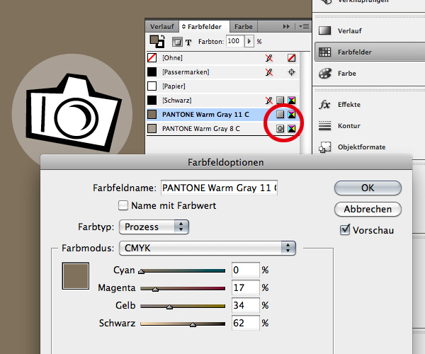 Die Farbpalette für die Präsentation in Adobe InDesign