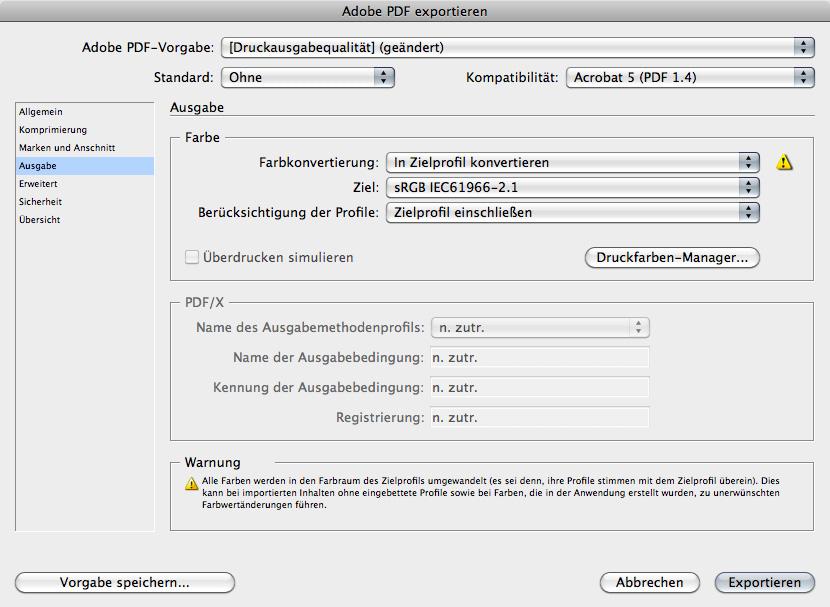 Mit der Konvertierung in den sRGB-Farbraum bei der PDF-Erstellung stimmte die Darstellung am iPad