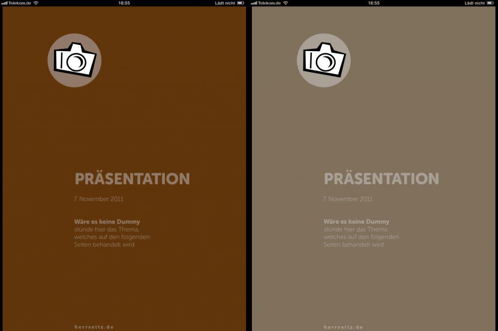 Im Vergleich: Links ein Screenshot der CMYK-Version, rechts ein Screenshot der RGB-Version