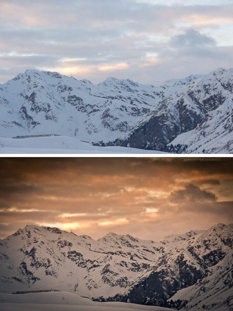 Blick von der Bergstation Kalcheralmlift Richtung Skigebiet Ratschings – bearbeitet mit Adobe Lightroom
