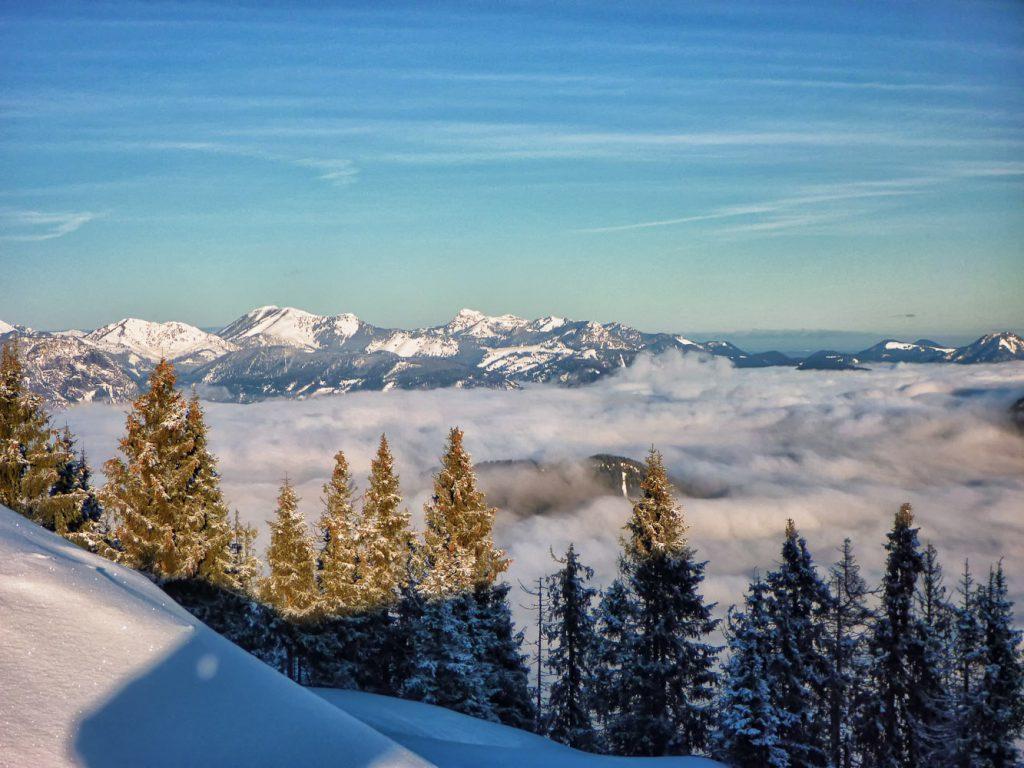Blick von Brandstadl in der Skiwelt Wilder Kaiser: Richtung Pölven und Kufstein