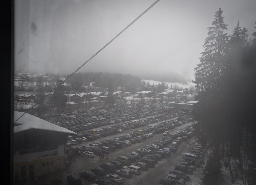 Blick aus der Gondel in der Talstadion des Brandstadl