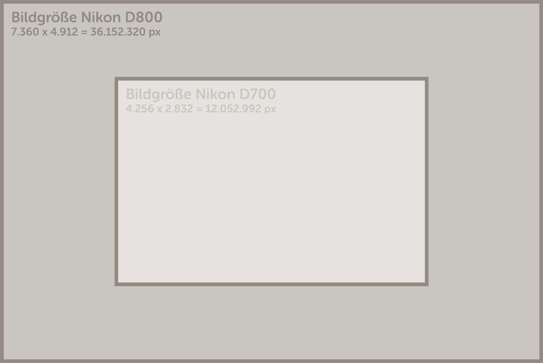 Bildgrößen von Nikon D800/D700 im Vergleich