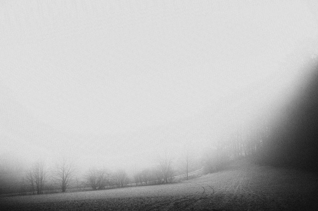 Blick auf die Kirche von Walkersbrunn (bei Nebel)