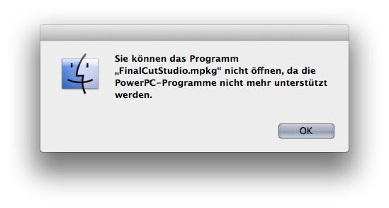 Fehlermeldung bei der Installation von Final Cut Studio unter OS X 10.7