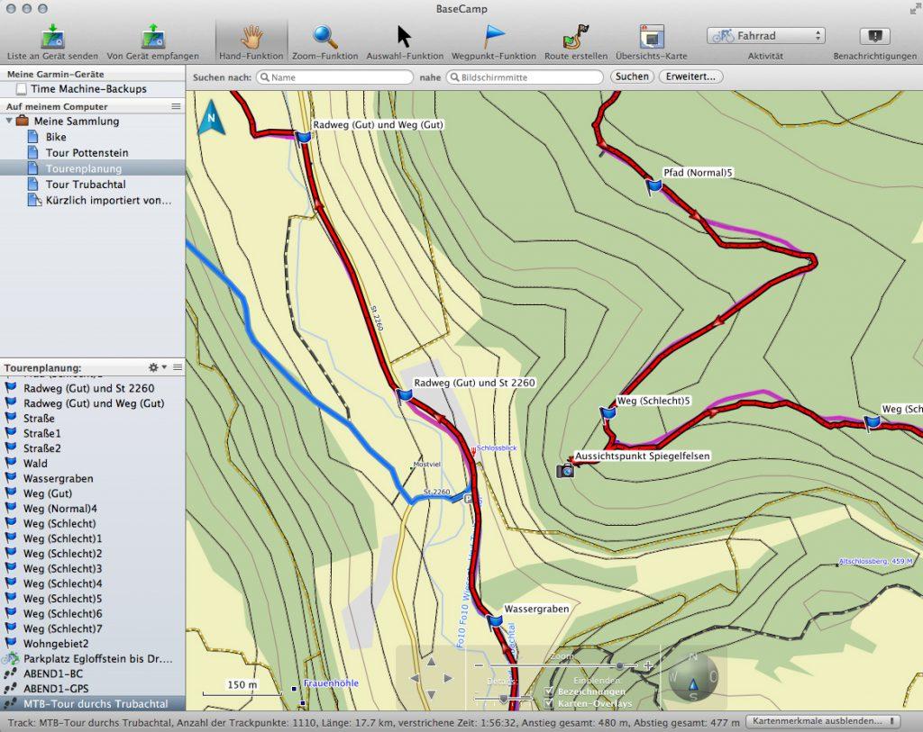 Routenplanung für eine MTB-Tour im Trubachtal mit Garmin BaseCamp