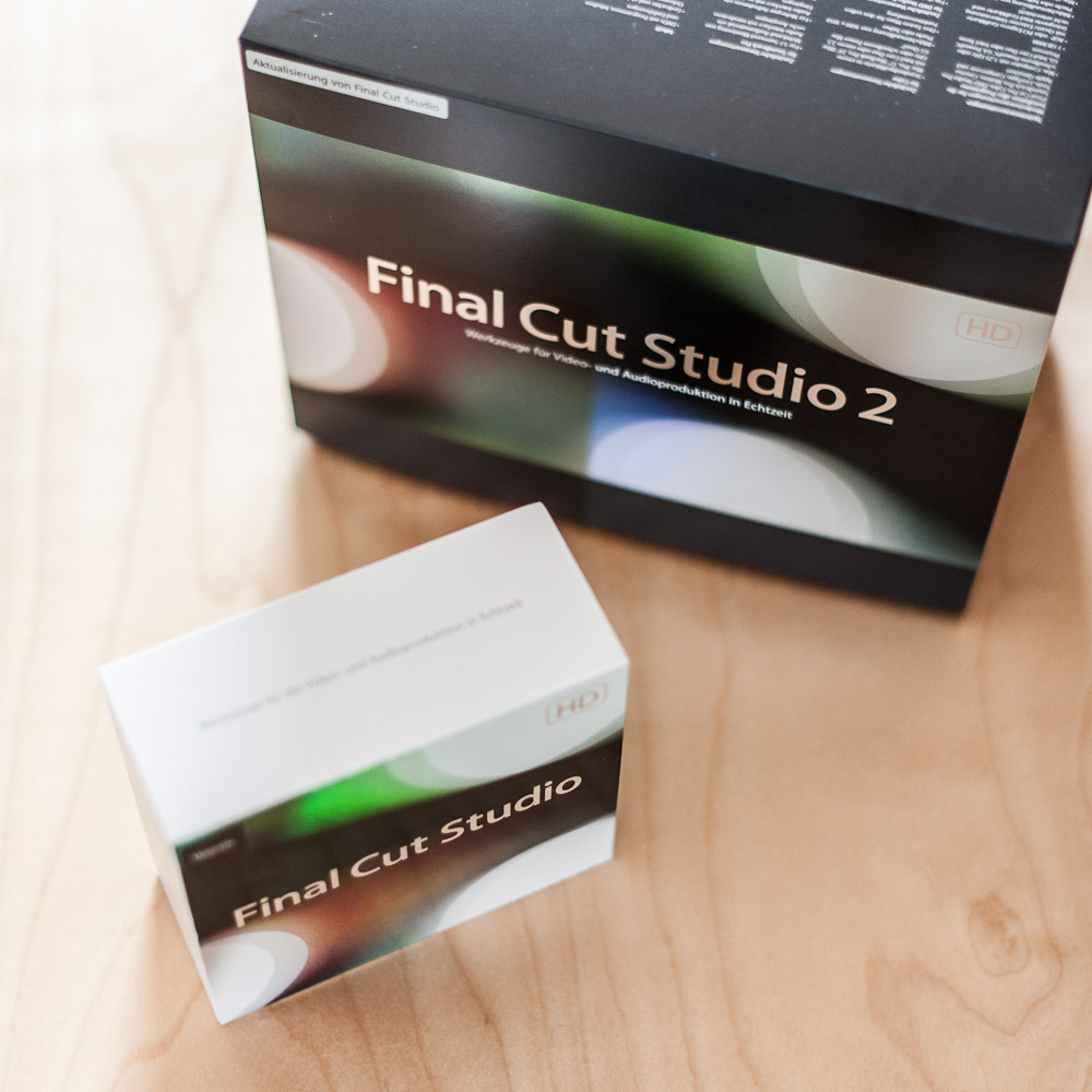 Packshot vom Apple Final Cut Studio 2 und vom Apple Final Cut Studio 3