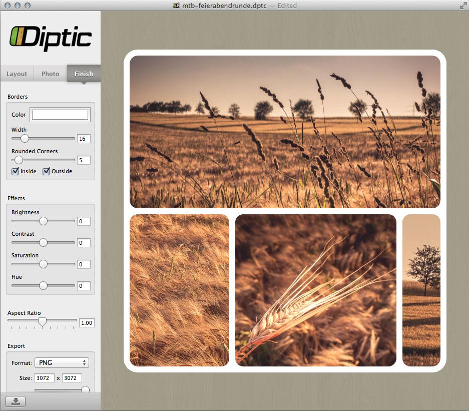 Screenshot: letzte Anpassungen vor dem Export in Diptic