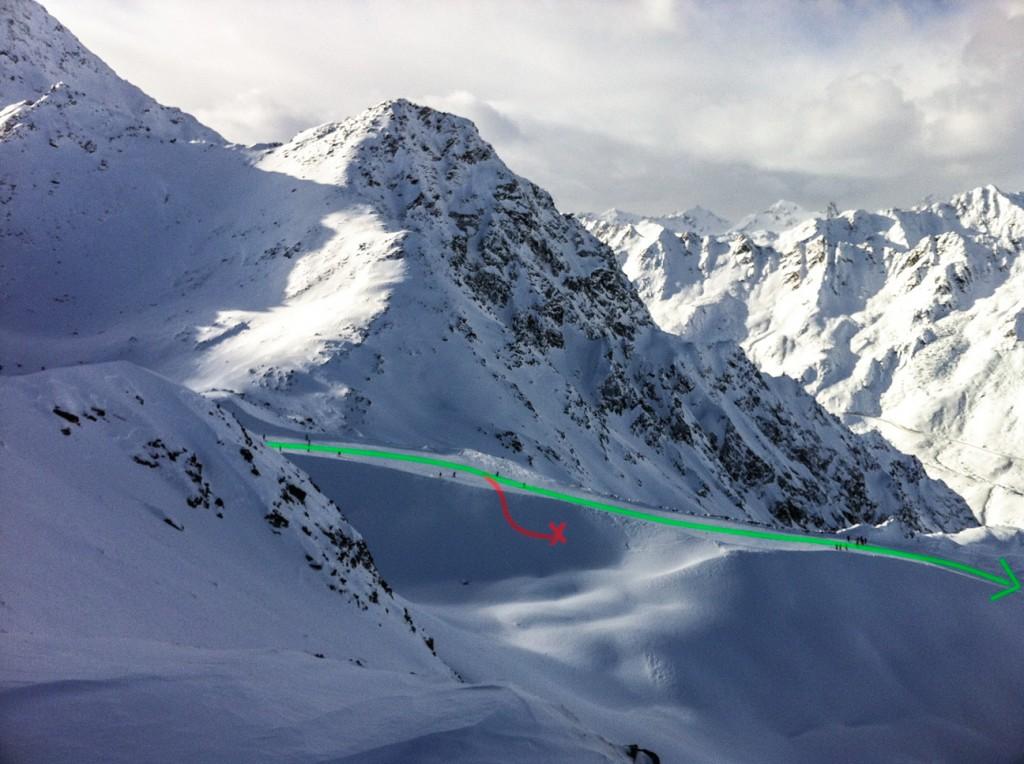 Der Pistenverlauf (grün) und die von mir gewählte Route (rot)
