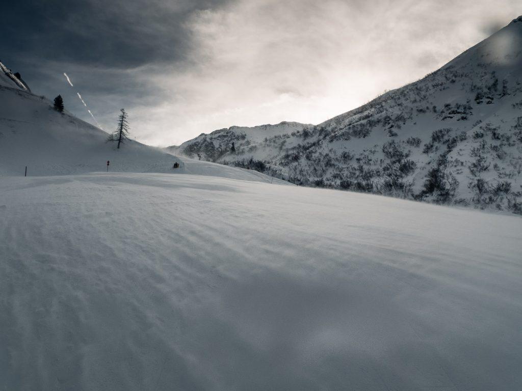 Schneeverwehung auf der Kanzelwand-Talabfahrt