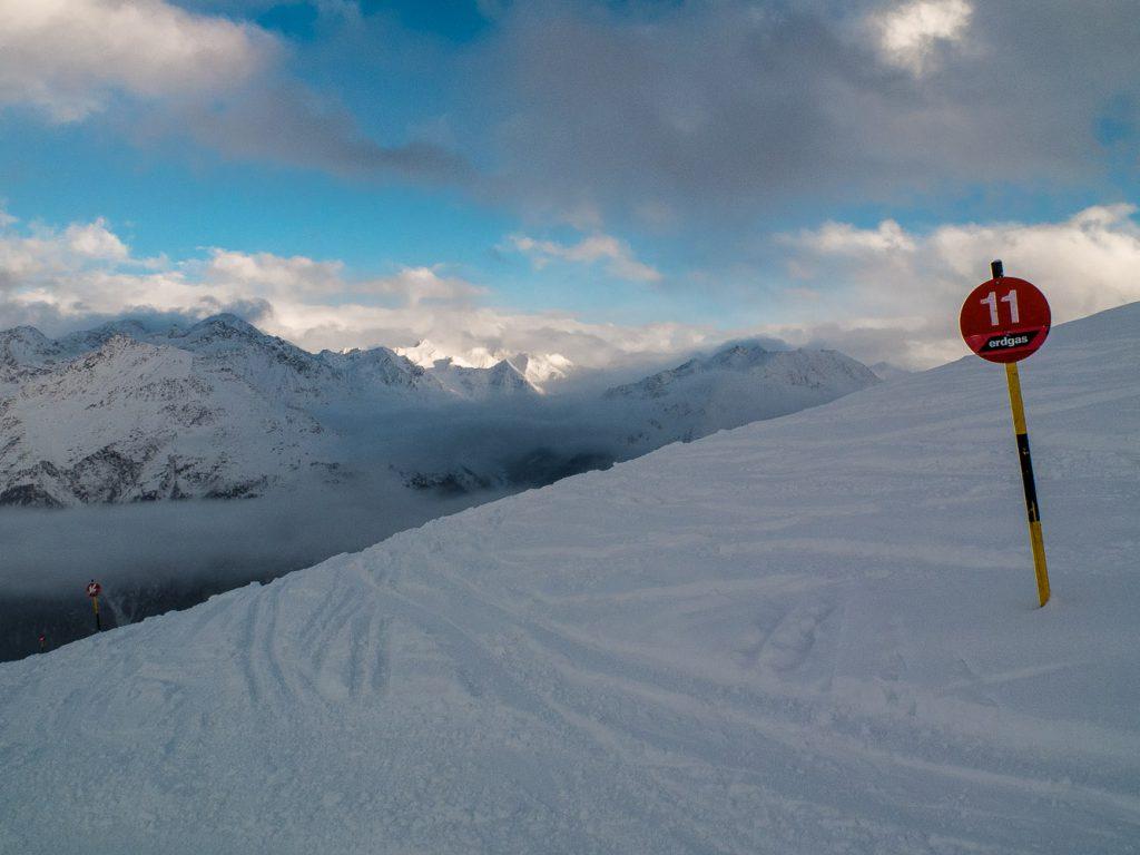 Herrlicher Schnee auf den Skipisten in Sölden