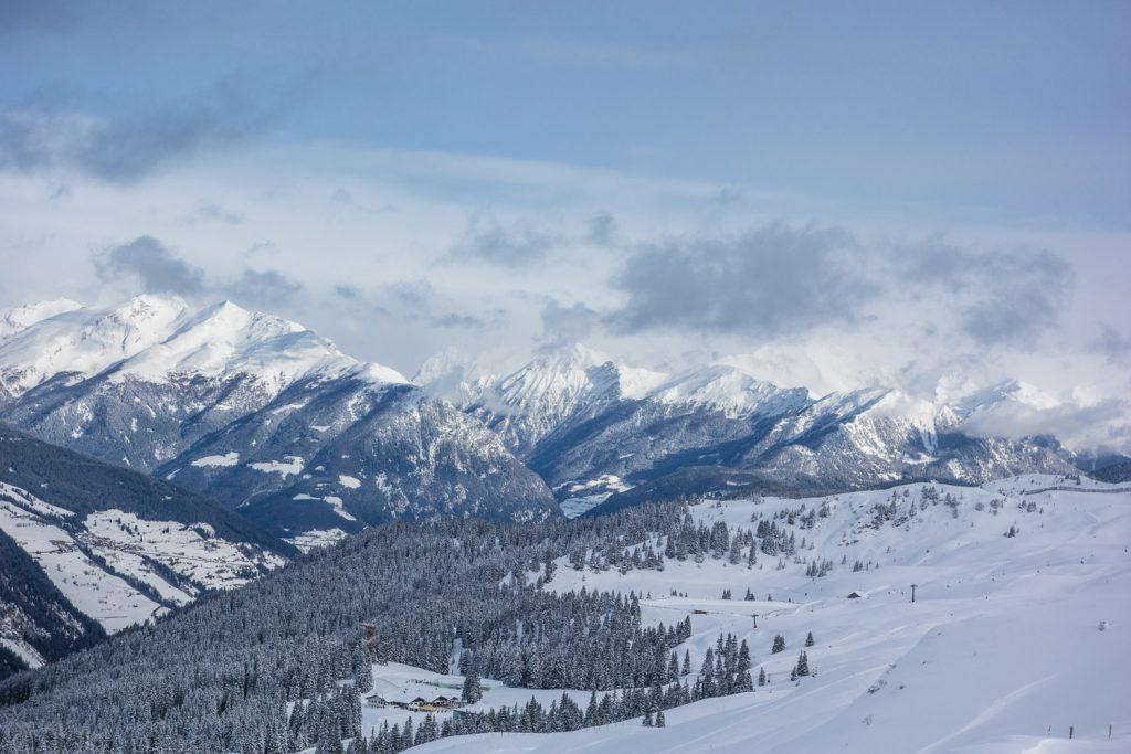 Blick Richtung Sterzing über das Skigebiet Ratschings