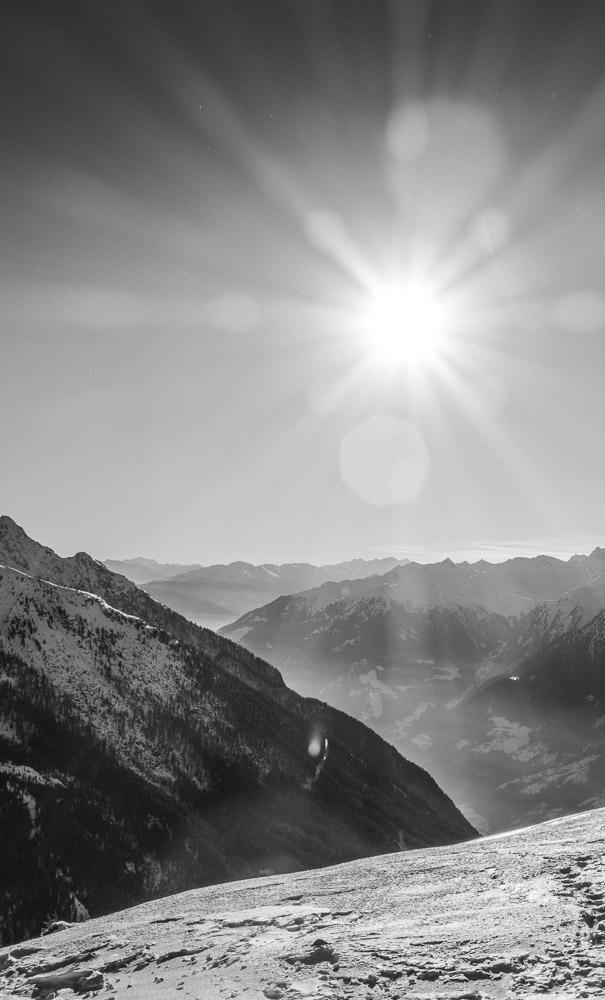 Die Sonne über dem Passaiertal