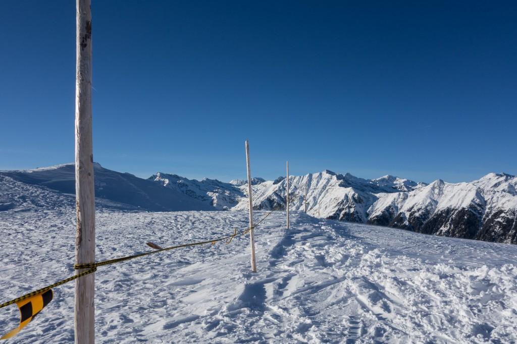 Ein letzter Blick von der Bergstation Rinneralmlift im Skigebiet Ratschings