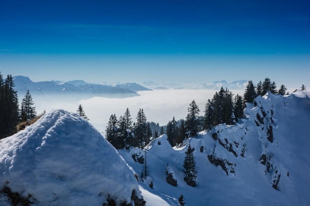 Ausblick, kurz unterhalb des Heidenkopfs, Richtung Bregenzer Wald