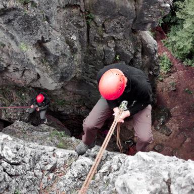 Beim Abseilen vom Zehnerstein bei Wolfsberg im Trubachtal