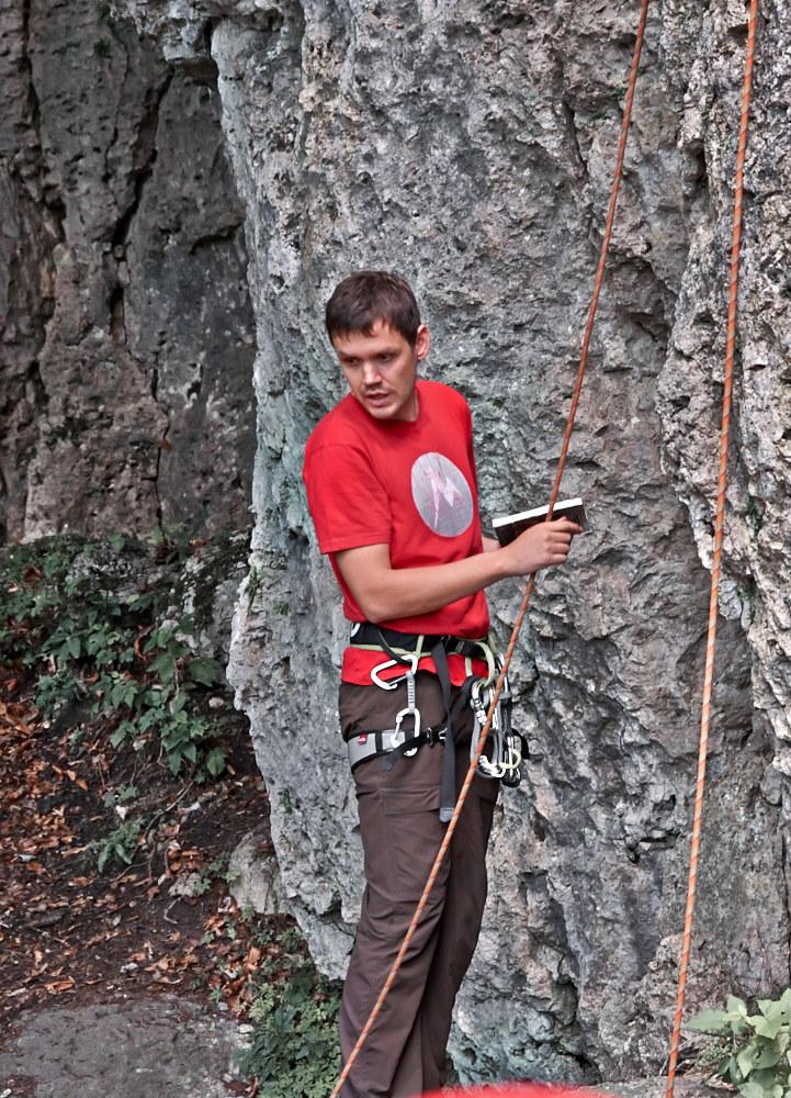 Routenwahl im Kletterführer und Vergleich mit der Realität: hier an der Hohe Reute