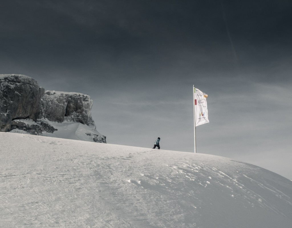 Auf dem Weg zur Das Höchste Fahne am Hohen Ifen