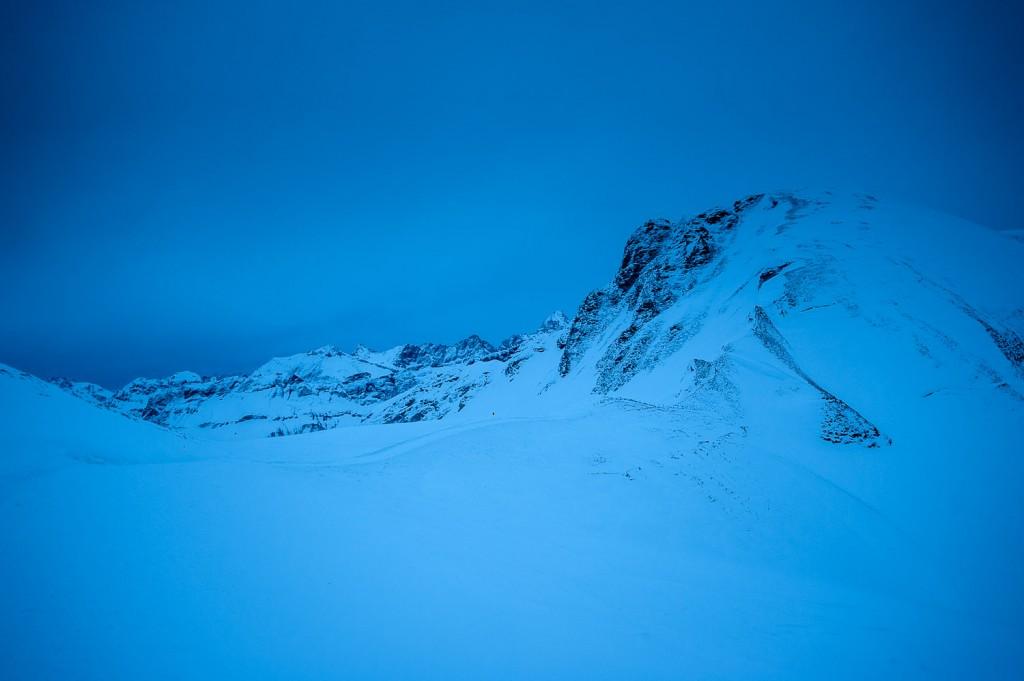 Allgäuer Alpen bei Einbruch der Dunkelheit
