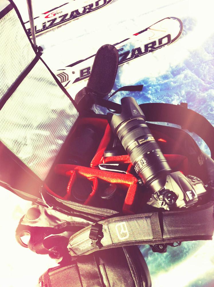 Mal probiert: Mit dem ganzen Kamerakram zum Skifahren. Ohne konkreten Job keine Profi-Idee