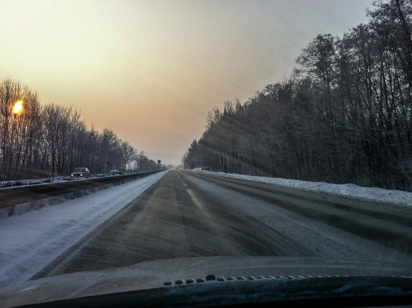 In der Morgendämmerung auf der Autobahn – wie hier für einen Tagestrip an Walmendingerhorn