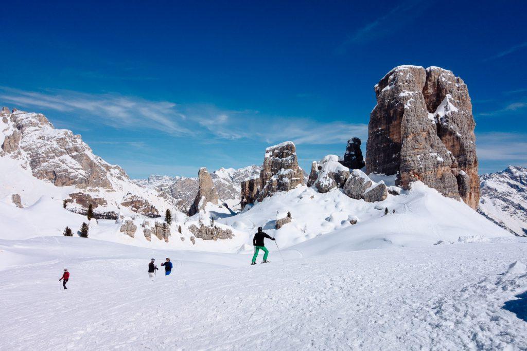 Skido Skisafari in den Dolomiten: hier bei den Cinque Torri