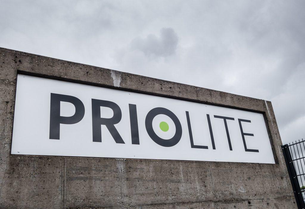 Am Firmengelände von Priolite in Würzburg
