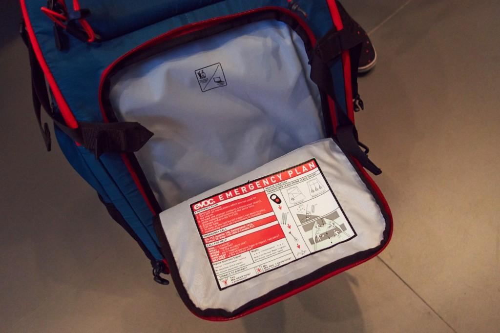 Separates Notfallfach im EVOC ZIP On ABS Modul