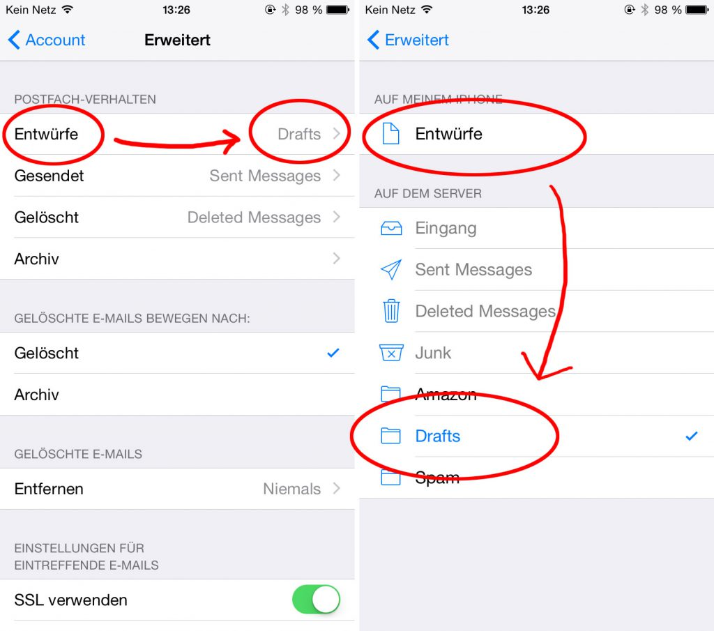 Definieren der Aufgaben einzelner IMAP Ordner mit Apple Mail unter iOS 8