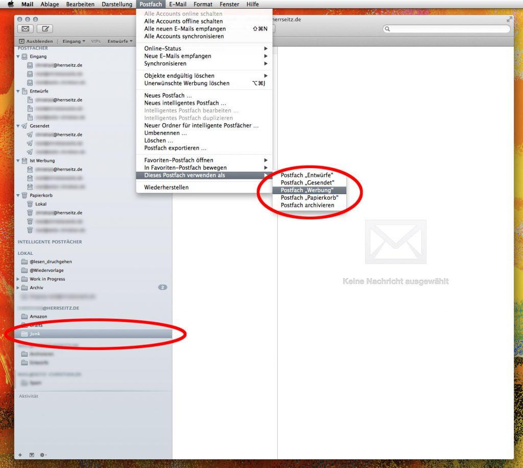 Definieren der Aufgaben einzelner IMAP Ordner mit Apple Mail unter Mac OS X 10.9 Mavericks