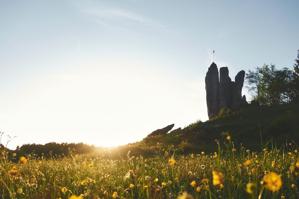 Die Drei Zinnen im Frankenjura im Sonnenuntergang