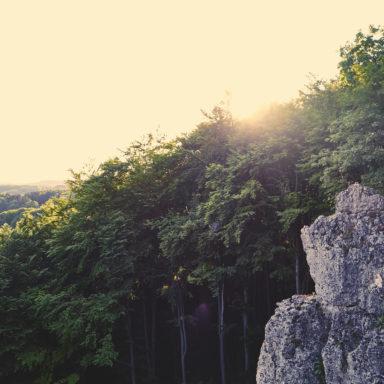 Die letzten Sonnenstrahlen an der Hohen Reute, bevor die Sonne unter dem Wald verschwindet und die Wand im Schatten liegt