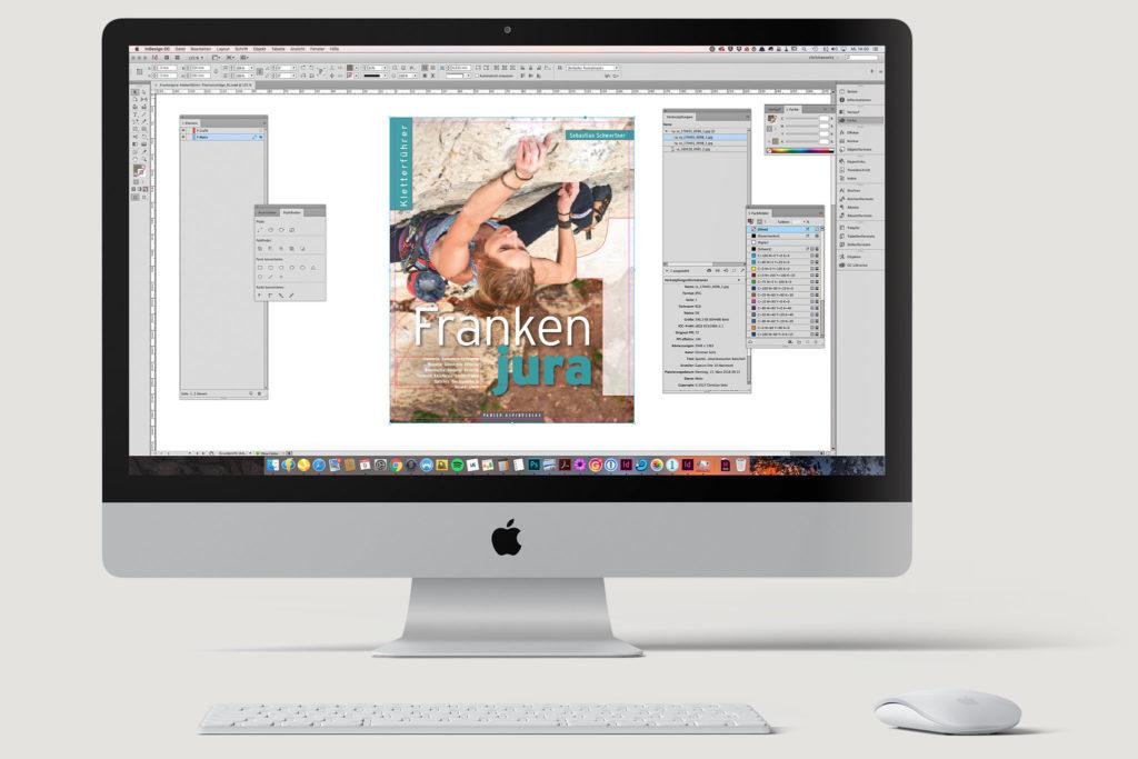 Aufbau der Kletterführer Titelseiten in Adobe InDesign