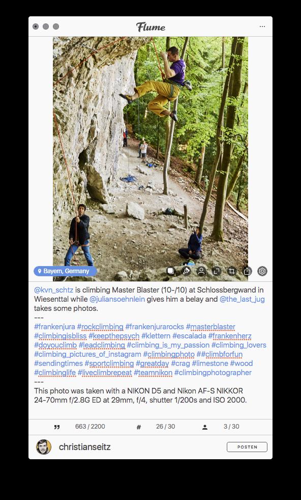 Vorbereiten eines Instagram-Post im Programm Flume am Apple Macintosh