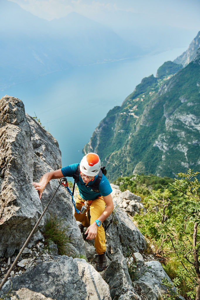 Unterwegs im Klettersteig Fausto Susatti mit dem Scarpa Mescalito